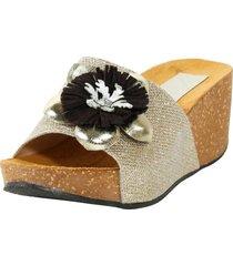 sandalia faja glitter con flor oro mailea