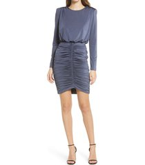 women's vince camuto long sleeve shirred skirt cocktail dress, size 2 - grey