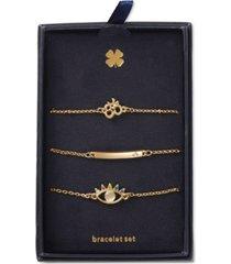 lucky brand gold-tone 3-pc. set crystal spiritual symbol link bracelets