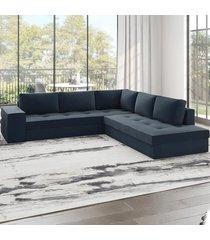 sofá de canto golias 5 lugares 12916 azul infinito - viero móveis