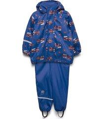 rainwear -aop w. fleece w. printed jacket outerwear rainwear sets & coveralls blå celavi