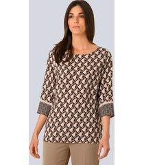 blouse alba moda beige::zwart