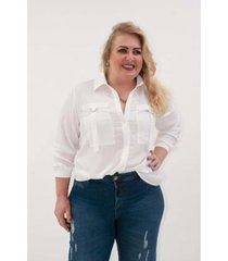 camisa kauê plus size fivela bolso feminina