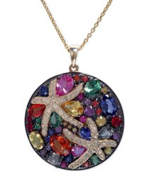 """watercolors by effy multicolor sapphire (5-3/8 ct. t.w.) and diamond (1/4 ct. t.w.) starfish 18"""" pendant necklace in 14k gold, created for macy's"""