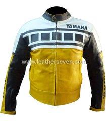 men mens yamaha yellow 6728 cowhide leather motorcycle motorbike biker jacket