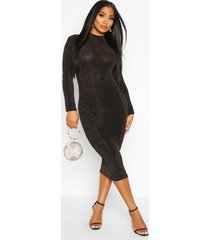 long sleeve glitter midi christmas party dress, gold