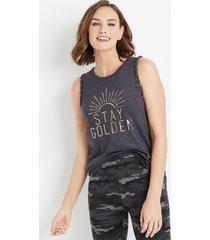 maurices womens black stay golden braided arm graphic tank top