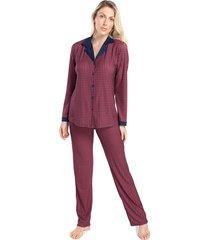 pijama feminino de inverno aberto xadrez vermelho - kanui