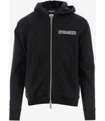 dsquared2 designer sweatshirts, black cotton zip front men's sweatshirt