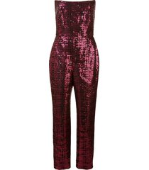 michelle mason sequined strapless jumpsuit - pink