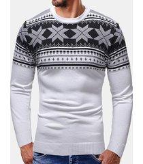 maglie manica lunga collo da uomo manica lunga patchwork con stampa fiocco di neve di natale