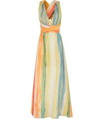vestido kika simonsen longo amarração estampado multicolorido - kanui