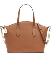 calvin klein statement series leather lock satchel