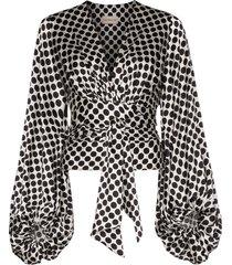 alexandre vauthier tie-side balloon-sleeve blouse - white