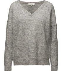 slflivana ls knit v-neck noos stickad tröja grå selected femme