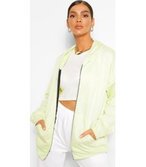 basic oversized zip through hoodie, lime