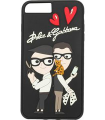 dolce & gabbana designer patch iphone 7/8 plus case - black