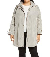 plus size women's via spiga ruched sleeve packable rain jacket, size 2x - beige