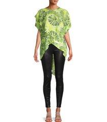patrizia luca women's tie-dye high-low top - green - size m