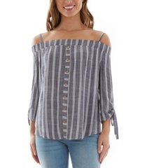 bcx juniors' cotton printed tie-sleeve cold-shoulder top