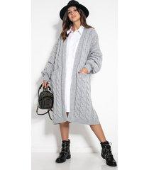 długi kardigan f1074 grey