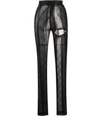 ann demeulemeester legging com recorte e padronagem de renda - preto