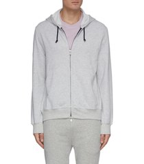 contrast drawstring zip front hoodie