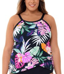 swim solutions plus size deco floral printed underwire tankini top, created for macy's women's swimsuit