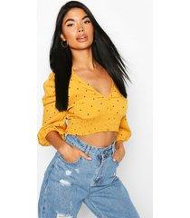 petite woven mini polka dot button through blouse, mustard