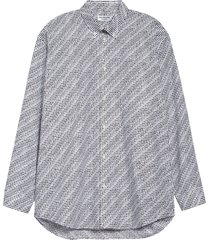 balenciaga archive letters logo poplin button-down shirt, size 10 us in noir/ecru at nordstrom