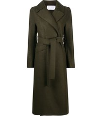 harris wharf london long belted trench coat - green