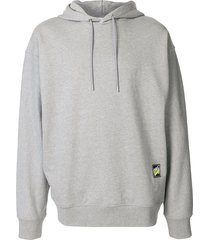 solid homme graphic print oversized hoodie - grey