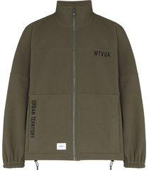 wtaps embroidered logo fleece zip-up sweatshirt - green