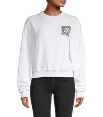 abstract block graphic crop sweatshirt