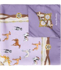 acne studios dog-pattern scarf - purple
