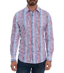 men's robert graham bogie regular fit stripe button-up shirt, size xxx-large - blue