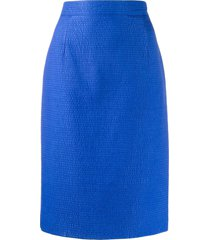gianfranco ferré pre-owned 1980s seersucker skirt - blue