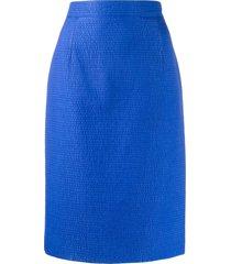 gianfranco ferré pre-owned 1980s seersucker skirt - blue