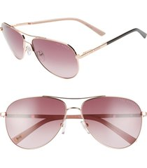 ted baker london 58mm tinted gradient aviator sunglasses in gold/brown at nordstrom