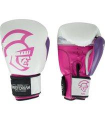 luvas de boxe pretorian elite training - 12 oz - adulto - branco/rosa