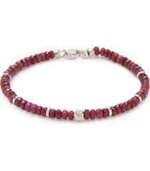 'nodo precious' ruby bead rhodium silver bracelet