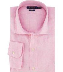 linnen overhemd ralph lauren slim fit lichtroze