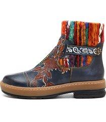 socofy bohemien stivaletti bassi alla caviglia in pelle in colore abbinato con motivo
