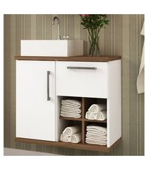 gabinete para banheiro veneza bosi 1 porta branco e nogal