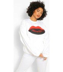 plus sweater met rode lippen, wit