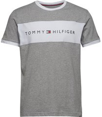 cn ss tee logo flag t-shirts short-sleeved grå tommy hilfiger