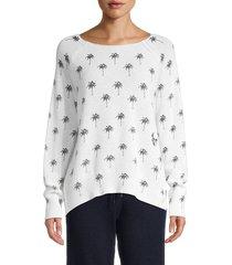 360 cashmere women's zane palm cashmere sweater - white charcoal - size s