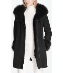 calvin klein shearling zipper coat