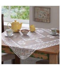 kit 4 toalhas de mesa renda 4 lugares  branco - bene casa