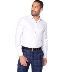 camisa blanca manga larga masculina presilla e hilo boton en contraste slim fit los caballeros